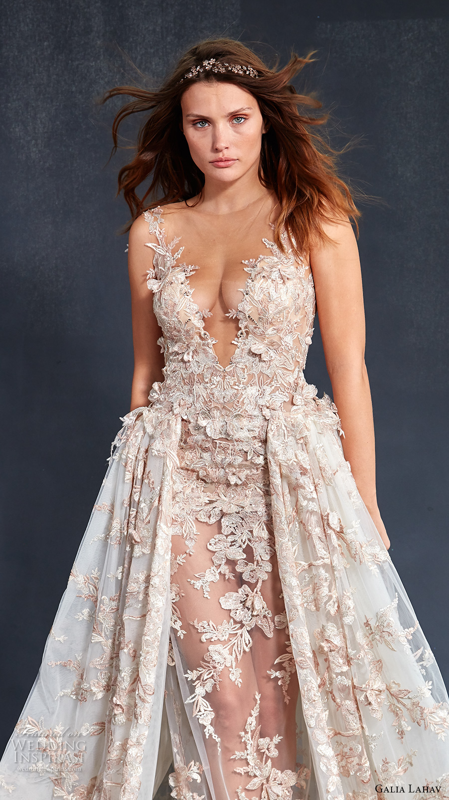 galia lahav couture fall 2017 bridal sleeveless deep v neckline full embellishment blush color sexy glamorous a  line overskirt wedding dress low back sweep train (lily rose) zv