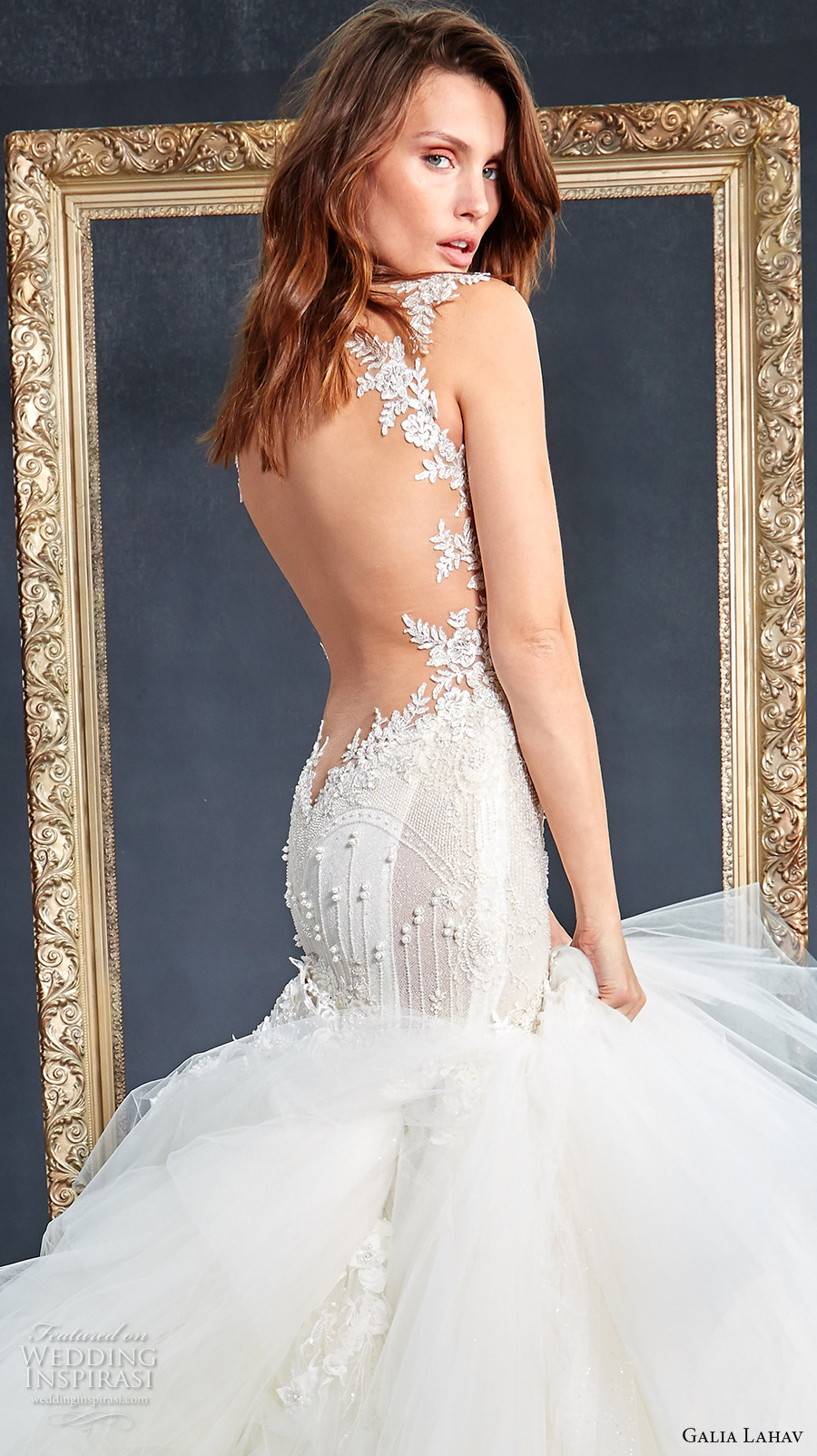 galia lahav couture fall 2017 bridal sleeveless sweetheart neckline bustier heavily embellished bodice sexy glamorous princess mermaid wedding dress low back royal train (new suzanne) zbv