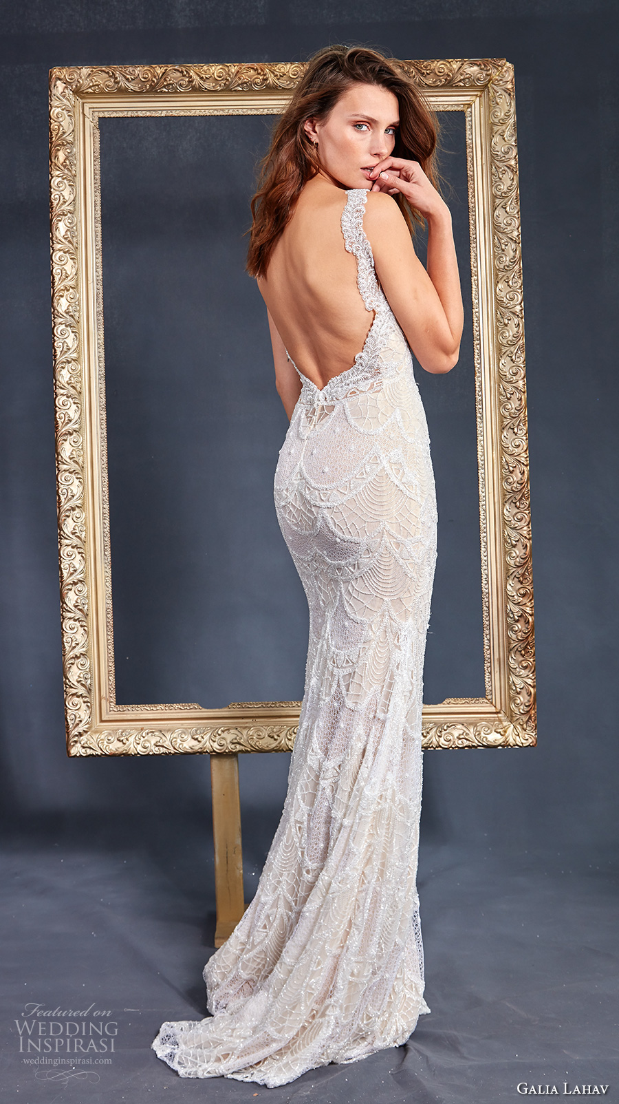 galia lahav couture fall 2017 bridal sleeveless thick strap deep plunging v neck full embellishment sexy sheath wedding dress low back sweep train (harper) bv