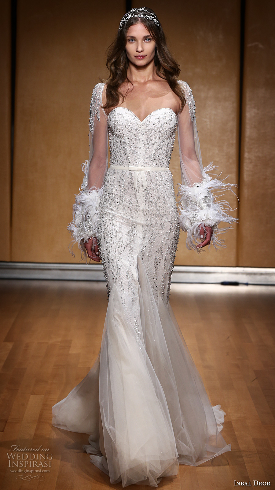 inbal dror 2017 bridal long sleeves strapless sweetheart neckline heavily embellished bodice elegant glamorous sheath wedding dress sweep train (007) mv