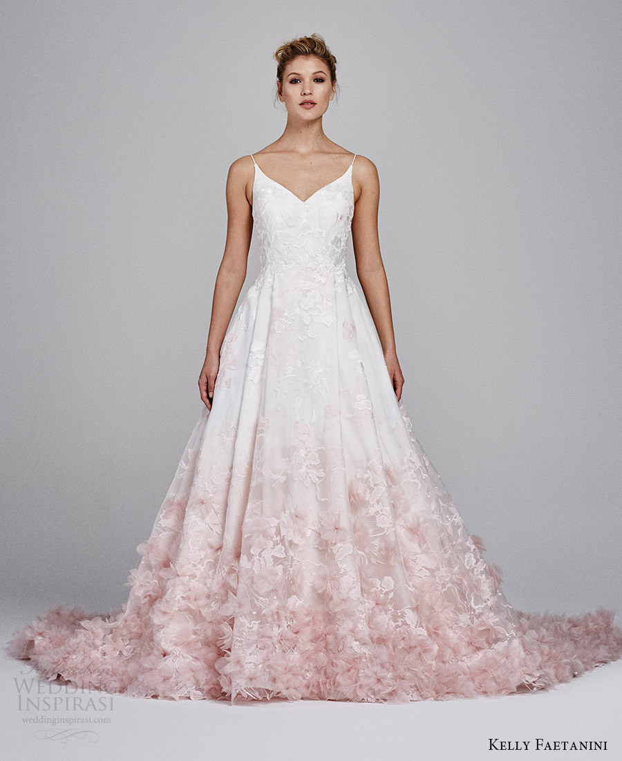 Kelly Faetanini Fall 2017 Sleeveless Vneck Silk Organz Petal Embellished Skirt Blush Ombre Ball Gown Wedding