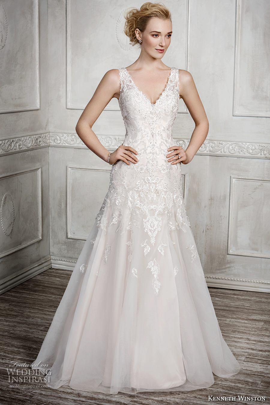 Kenneth winston fall 2016 wedding dresses wedding inspirasi for Sheer bodice wedding dress