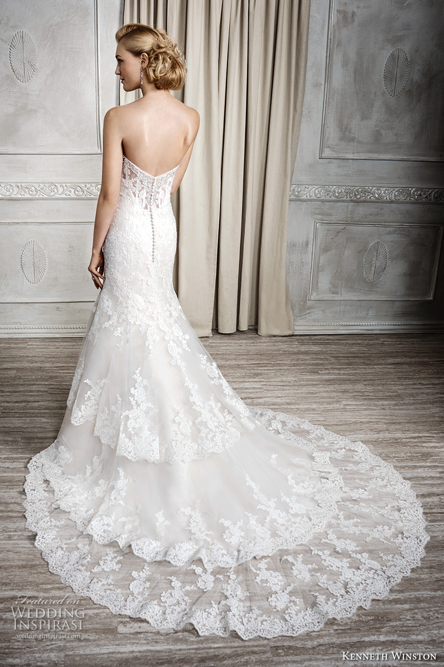 Kenneth Winston Fall 2016 Bridal Strapless Sweetheart Neckline Full Embellishment Elegant Fit And Flare Wedding Dress
