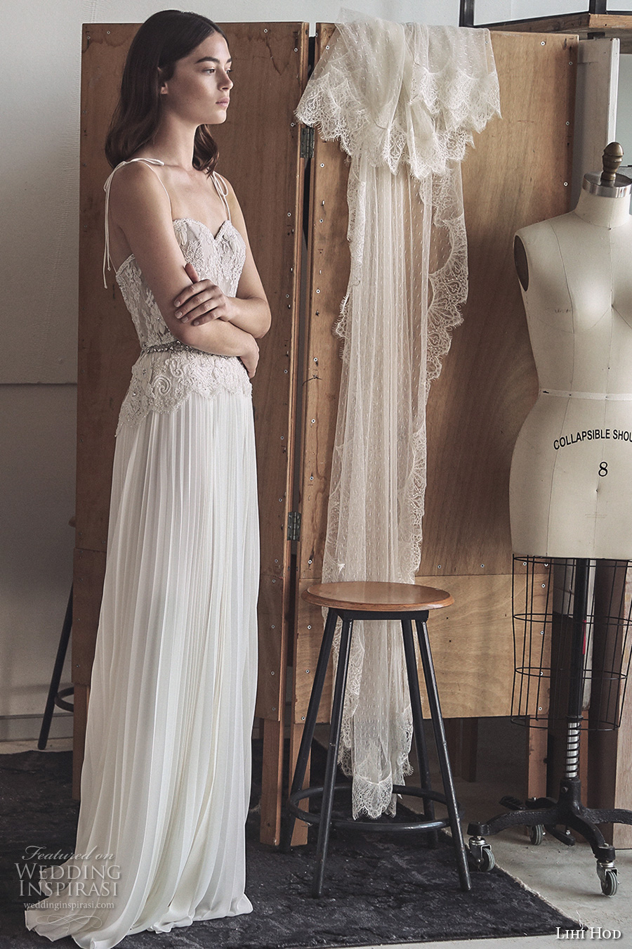 e16b7256c55 lihi hod 2017 bridal spagetti strap sweetheart neckline heavily embellished  bodice pleated skirt modified a line