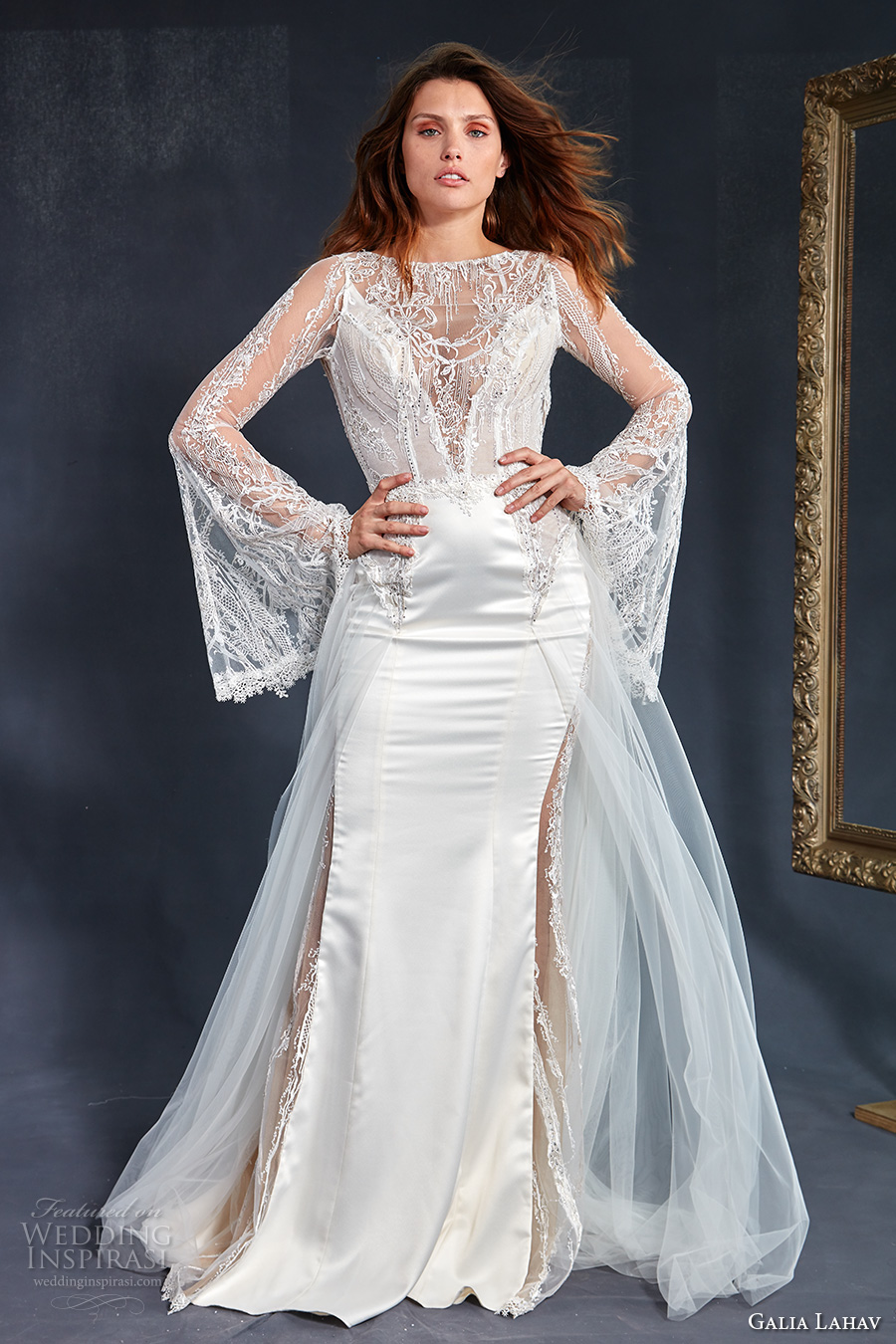 long bell sleeves illusion bateau v neck neckline heavily embellished bodice satin skirt elegant sheath wedding dress a  line overskirt keyhole back medium train (penelope) mv
