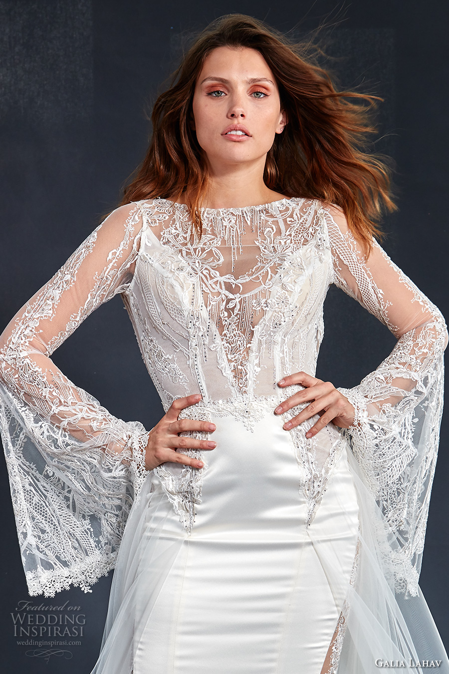 long bell sleeves illusion bateau v neck neckline heavily embellished bodice satin skirt elegant sheath wedding dress a  line overskirt keyhole back medium train (penelope) zv