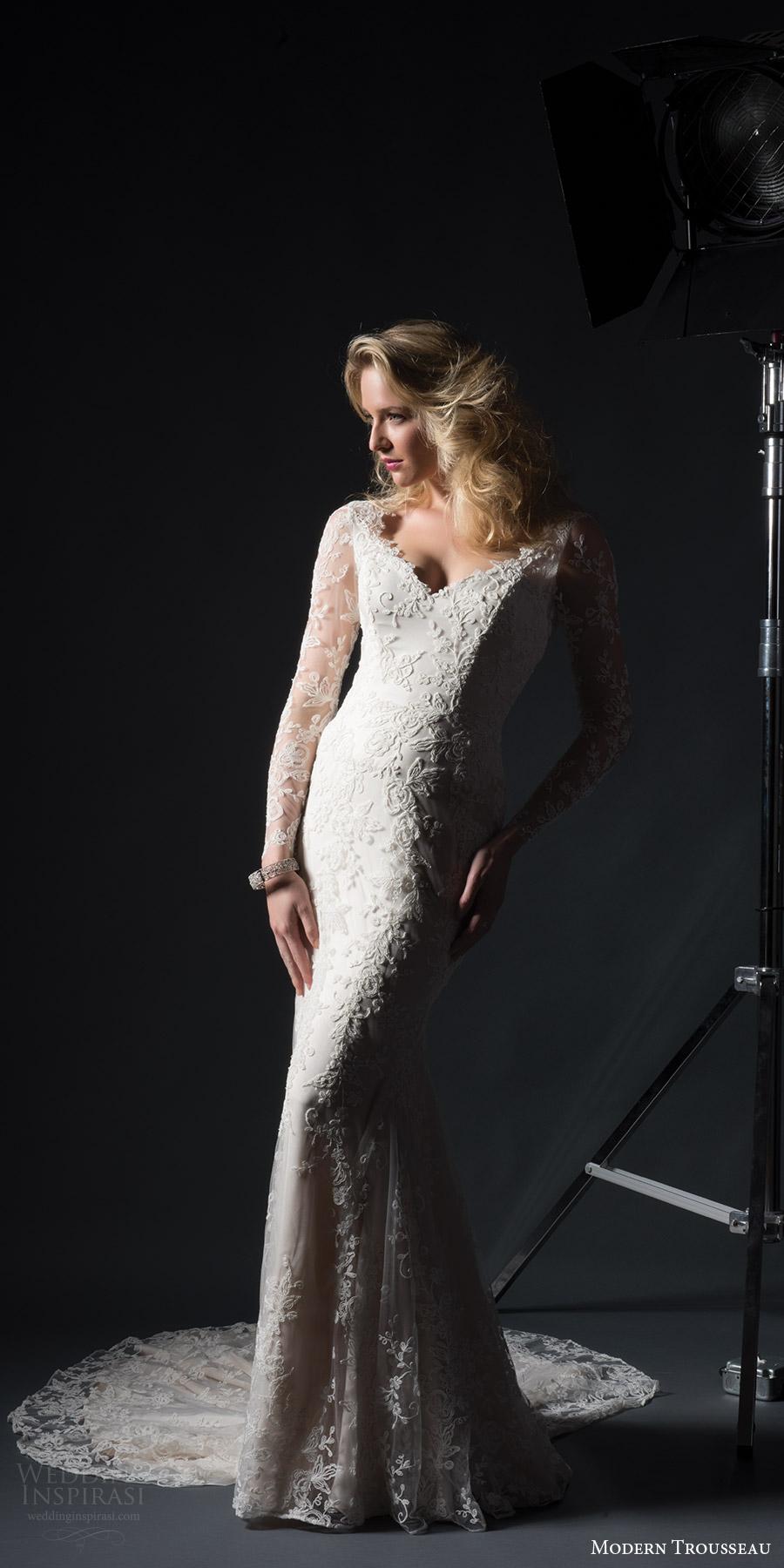 modern trousseau bridal fall 2017 illusion long sleeves lace sheath wedding dress (derby) fv keyhole back chapel train