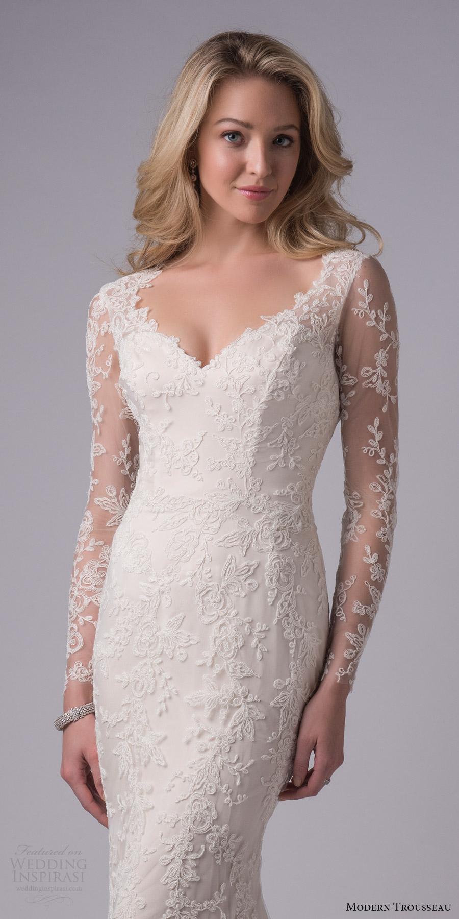 modern trousseau bridal fall 2017 illusion long sleeves lace sheath wedding dress (derby) zv keyhole back chapel train