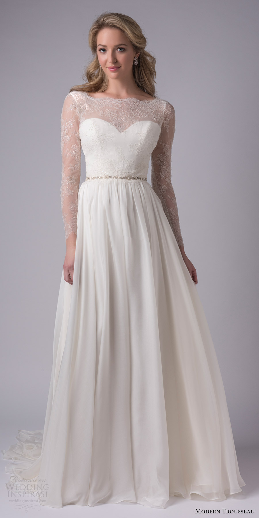 modern trousseau bridal fall 2017 illusion long sleeves sheer portrait sweetheart neckline aline wedding dress (lincoln) mv chapel train
