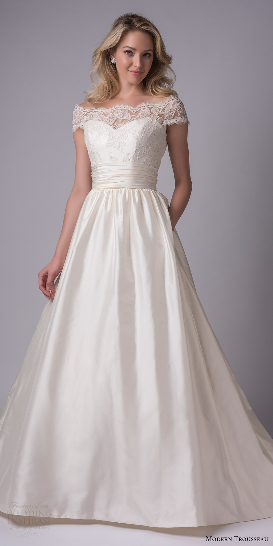 modern trousseau bridal fall 2017 off shoulder lace bodice ball gown wedding dress (nissa) mv ruched waistband thai silk skirt pockets