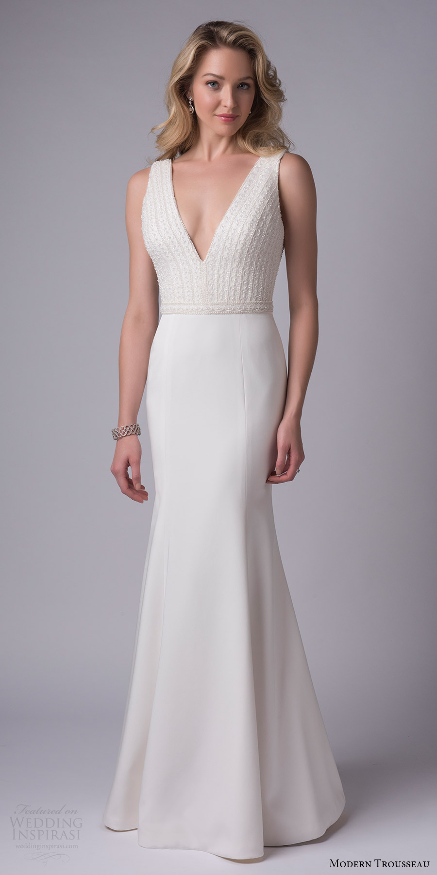 modern trousseau bridal fall 2017 sleeveless deep vneck beaded bodice trumpet wedding dress (adora) mv
