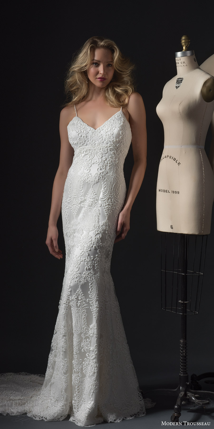 modern trousseau bridal fall 2017 sleeveless spaghetti straps vneck lace sheath wedding dress (colby) fv train