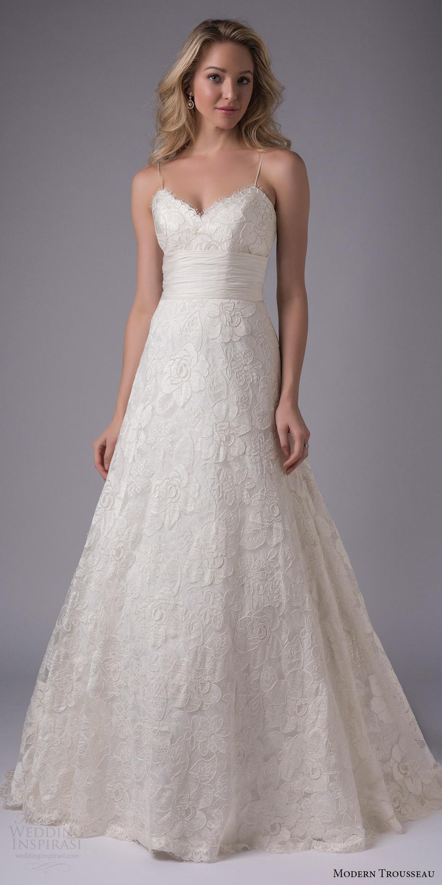 modern trousseau bridal fall 2017 sleeveless sweetheart ball gown alencon lace awedding dress (blaine) mv ruched waist