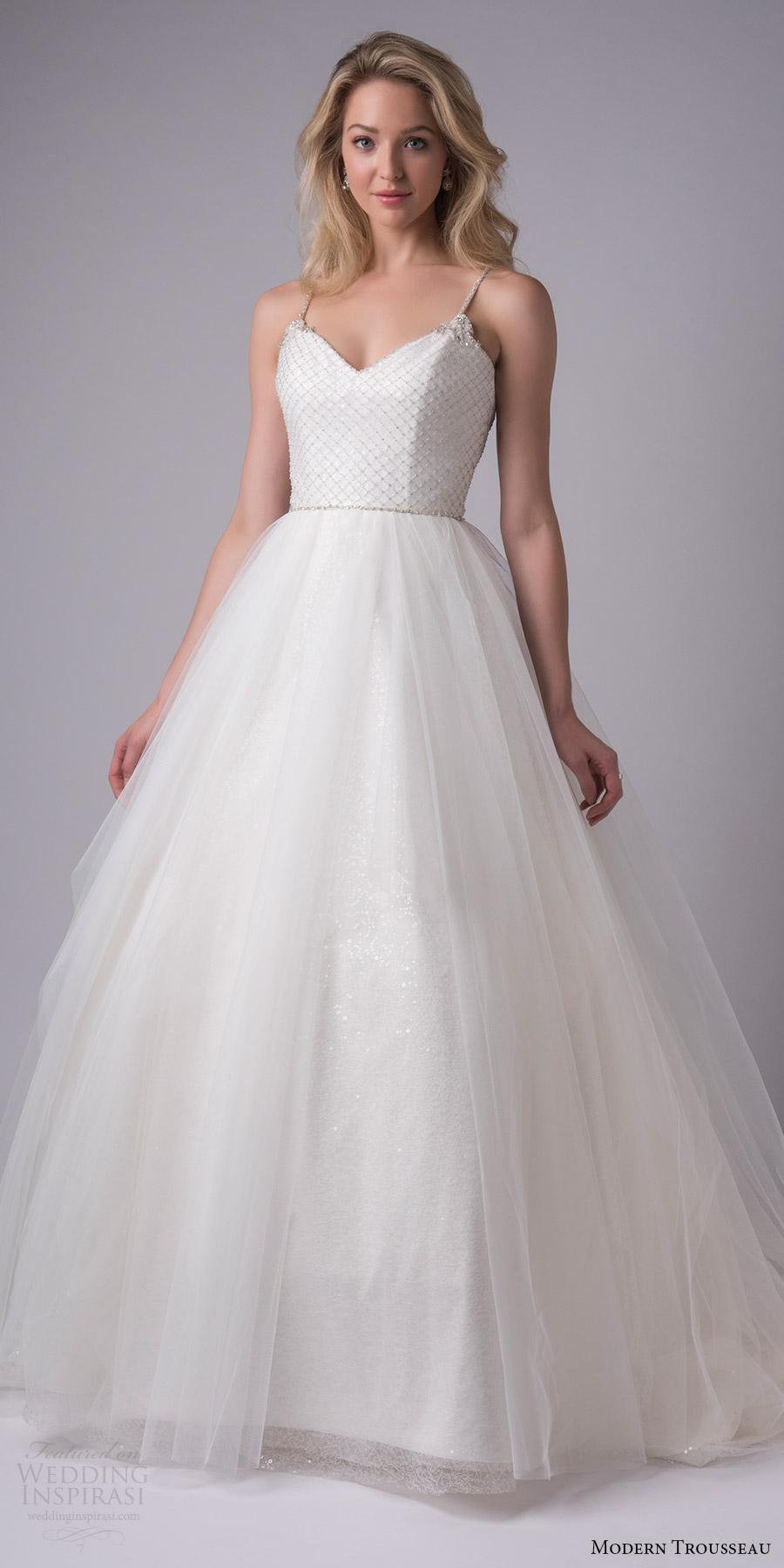 modern trousseau bridal fall 2017 sleeveless vneck beaded bodice spaghetti straps ball gown wedding dress (astrid) mv
