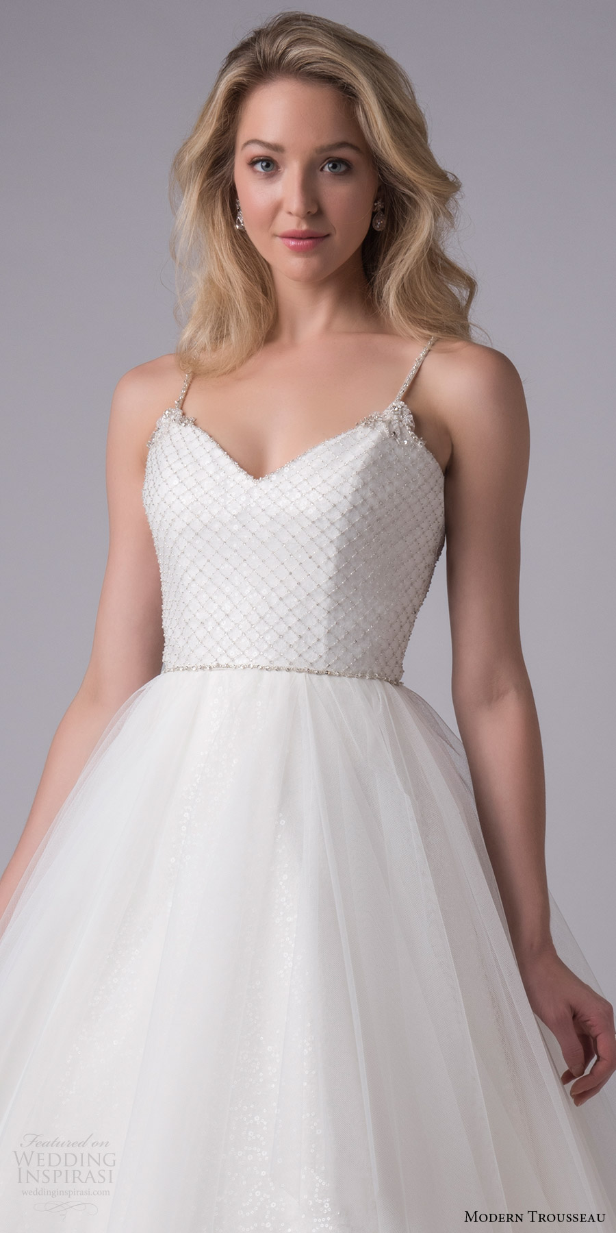 modern trousseau bridal fall 2017 sleeveless vneck beaded bodice spaghetti straps ball gown wedding dress (astrid) zv