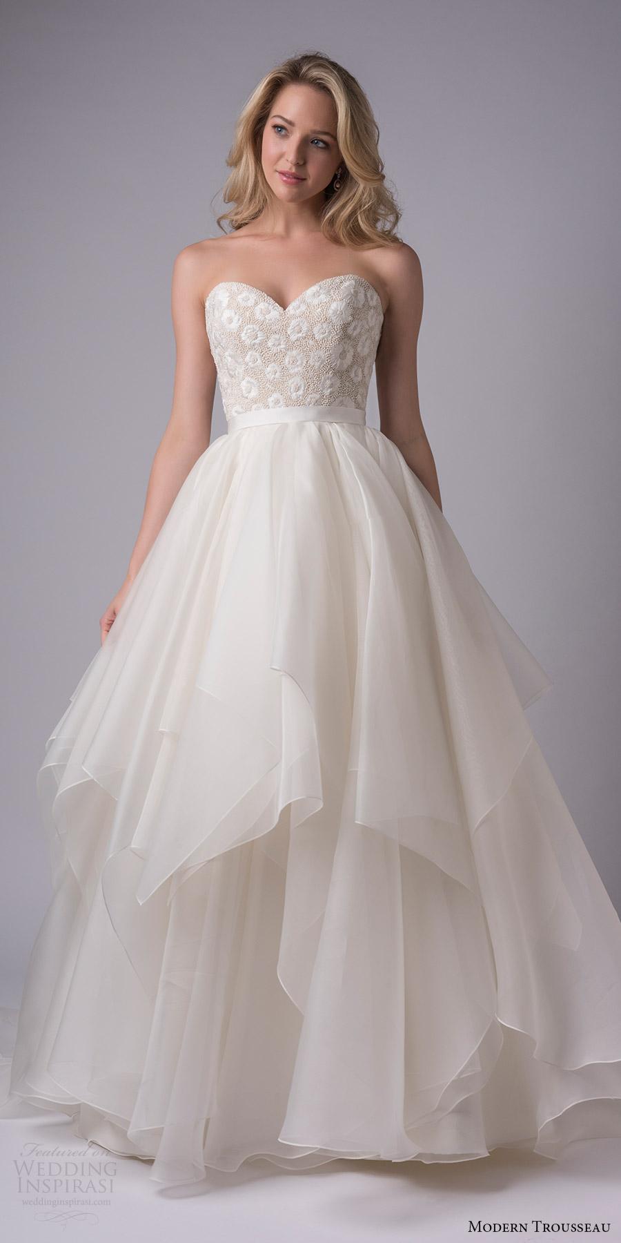 modern trousseau bridal fall 2017 strapless sweetheart ball gown wedding dress (keely) mv handkerchief skirt