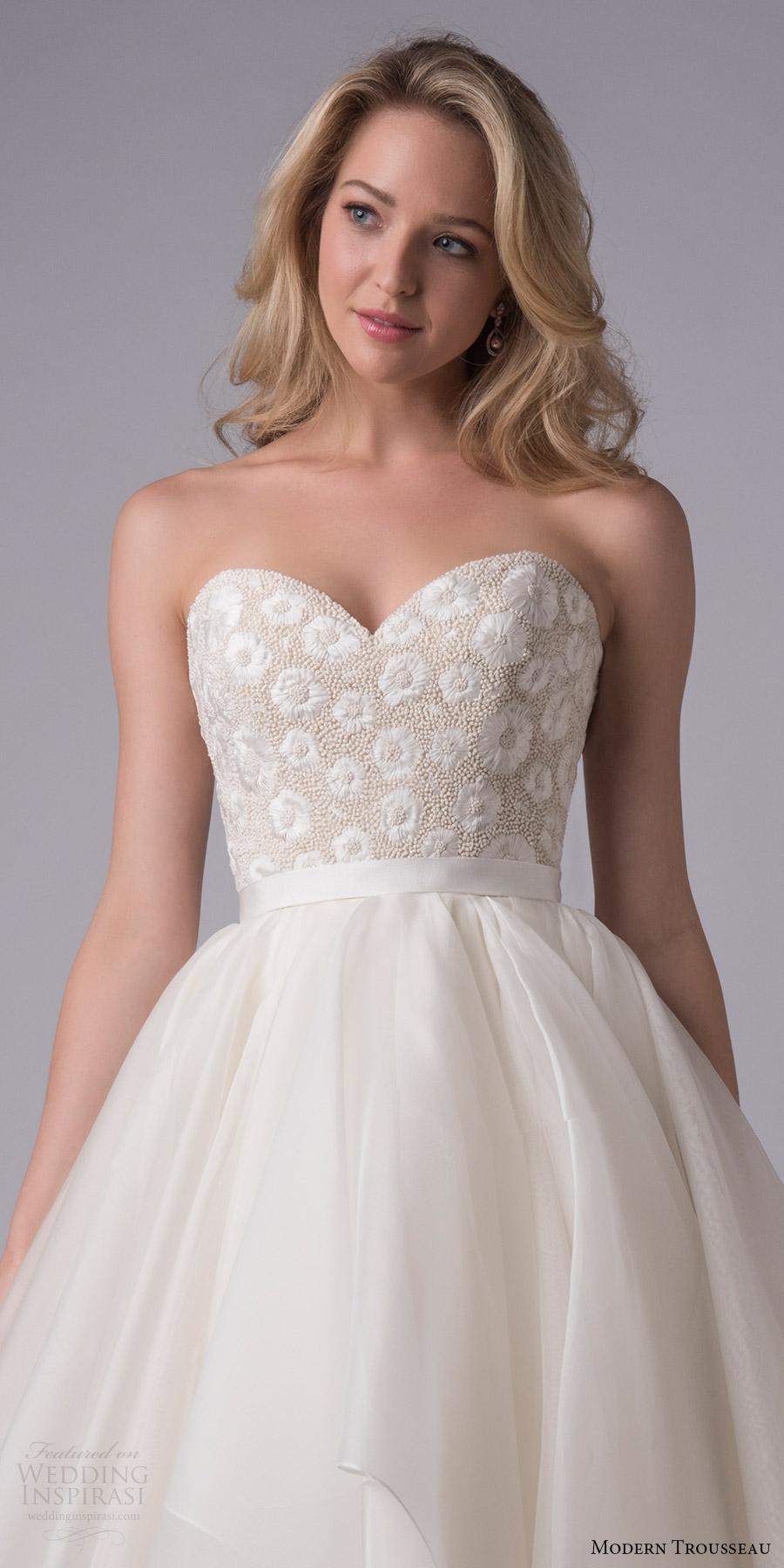 modern trousseau bridal fall 2017 strapless sweetheart ball gown wedding dress (keely) zfv handkerchief skirt