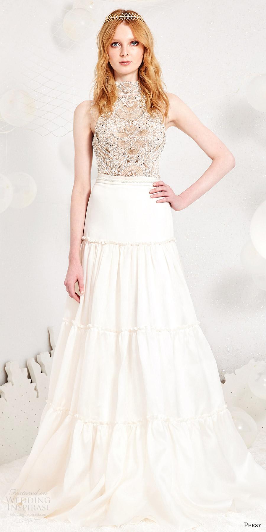 Tiered Wedding Dresses 59 Fancy persy spring sleeveless halter