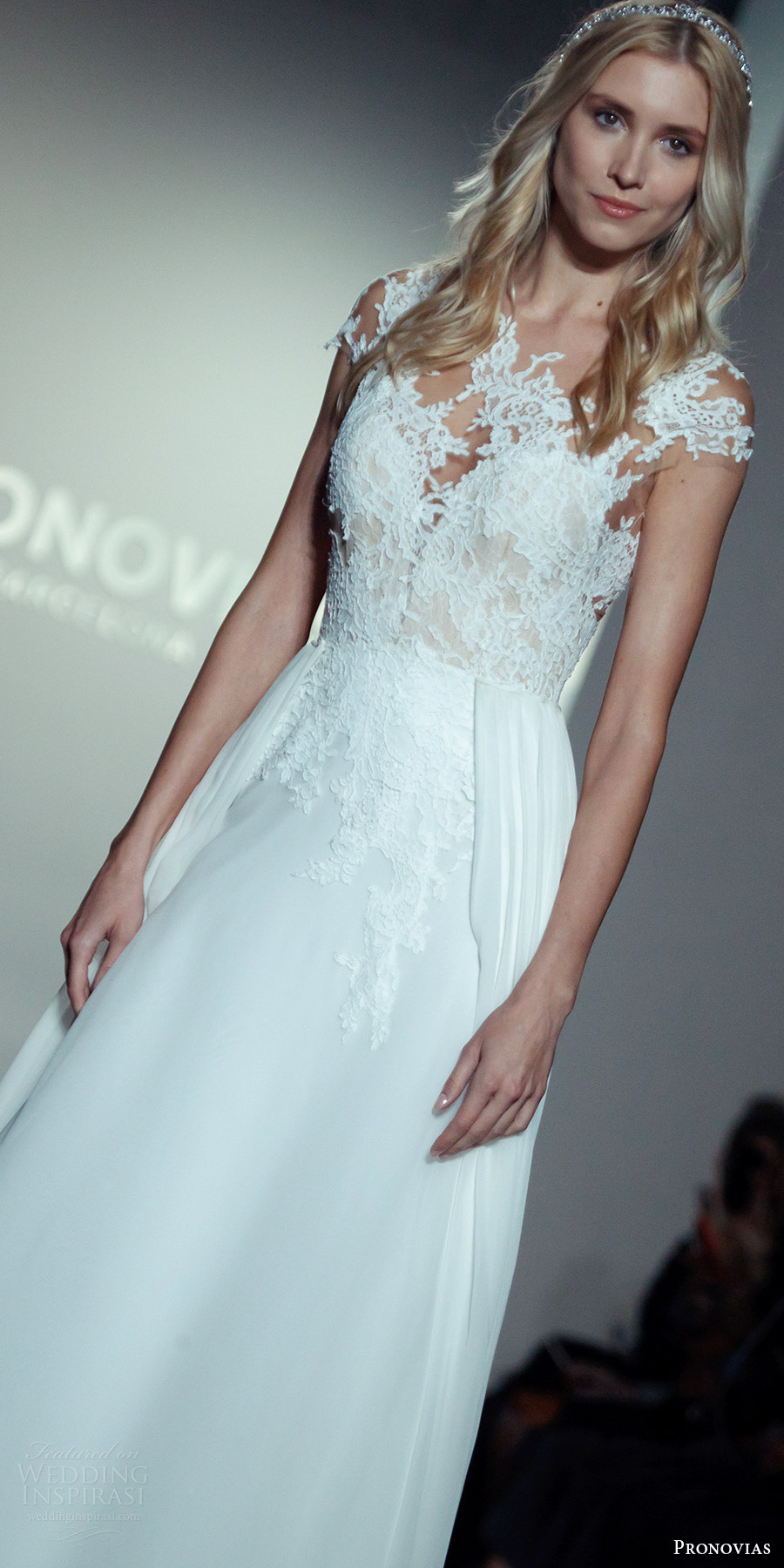 pronovias 2017 pronovias 2017 illusion cap sleeves a line wedding dress (new york bridal fashion week look6) mv