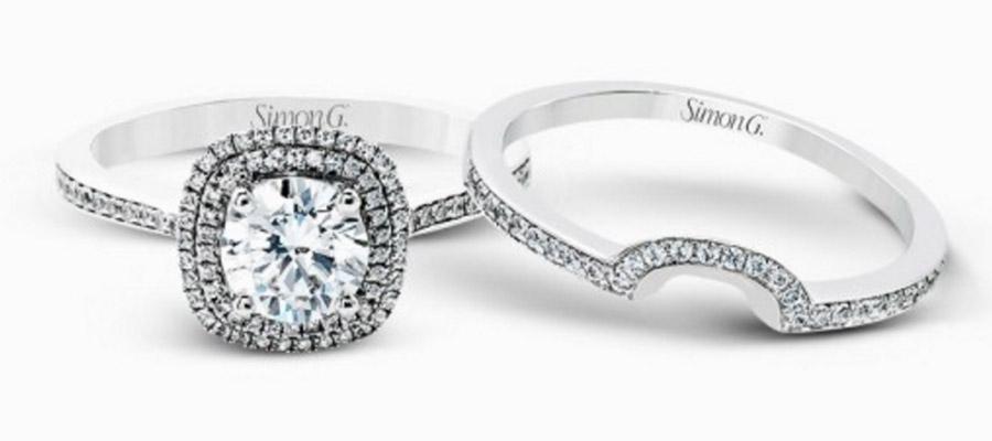 Simon G Gorgeous Diamond Engagement Ring Wedding Band Set Mr1676 D Vintage Inspired Halo Setting