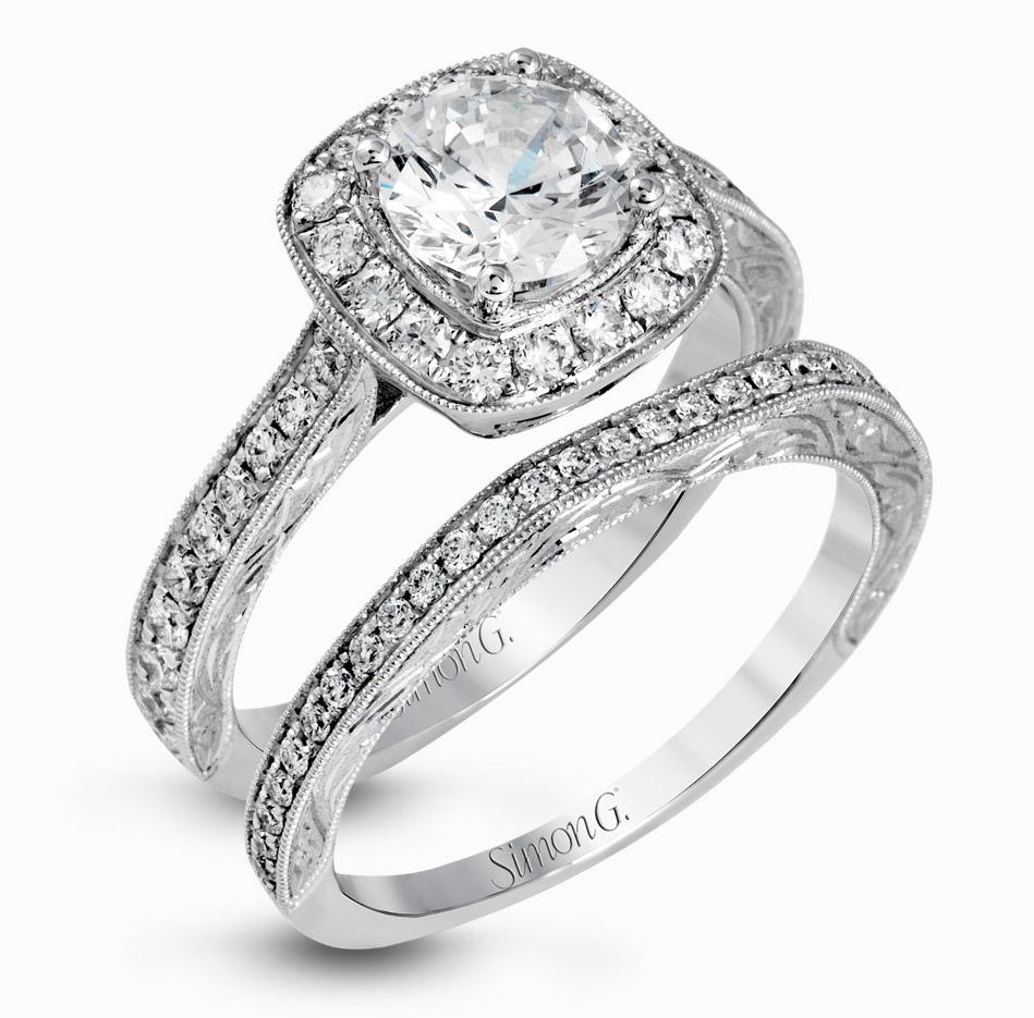 Simon G Gorgeous Diamond Engagement Ring Wedding Band Set Mr2693 Vintage Inspired Milgrain Edgeing Halo Stone