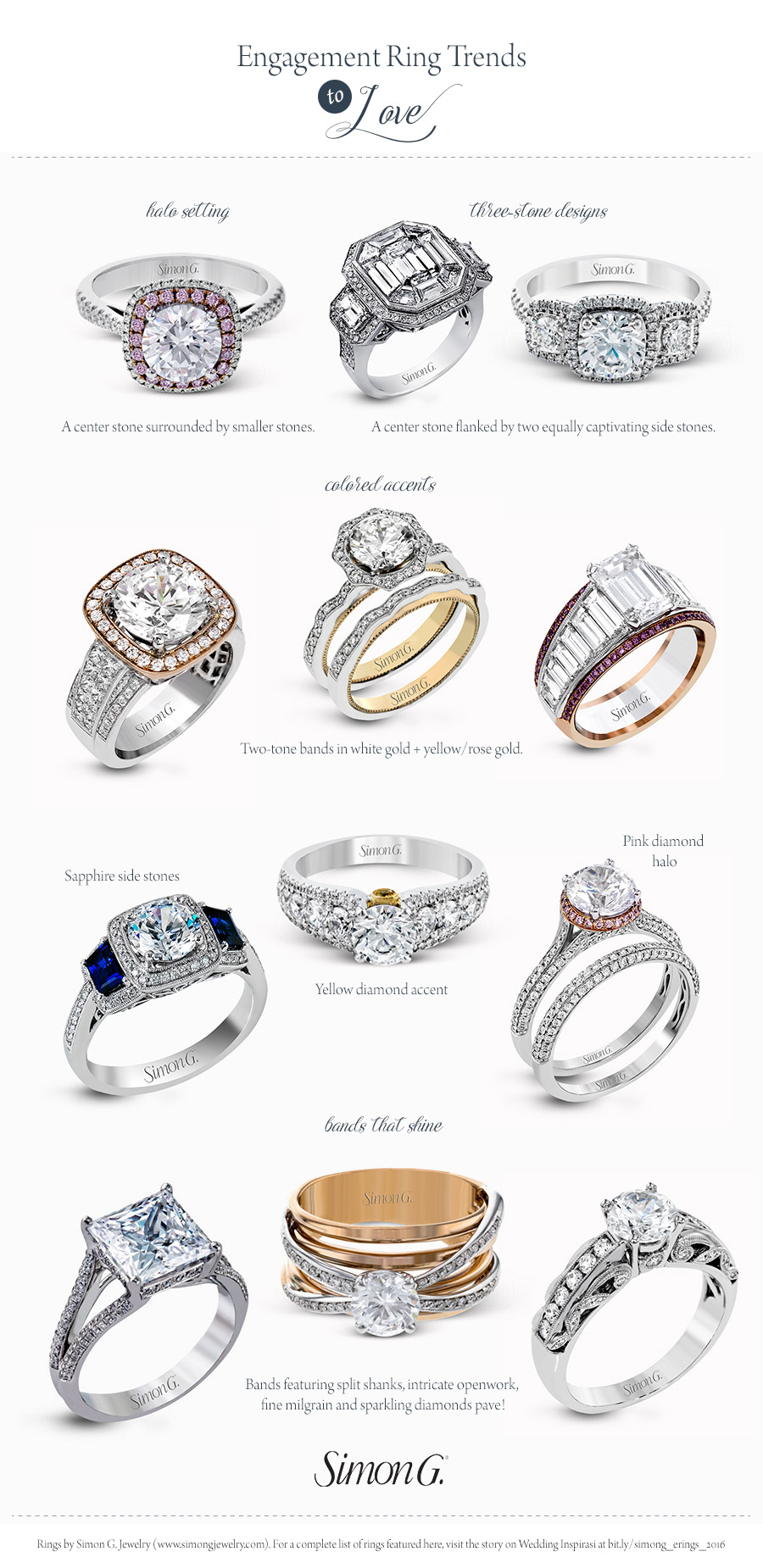 wedding ring types simon g engagement ring styles for every wedding 1005