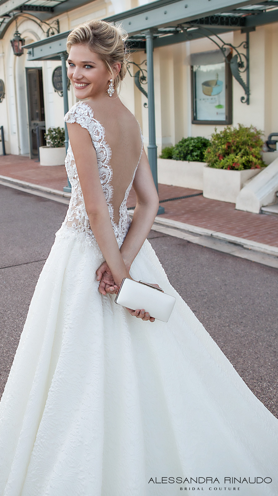 alessandra rinaudo 2017 bridal cap sleeves illusion bateau deep plunging neckline heavily embellished bodice romantic sexy a  line wedding dress open low v back chapel train (betty) zbv