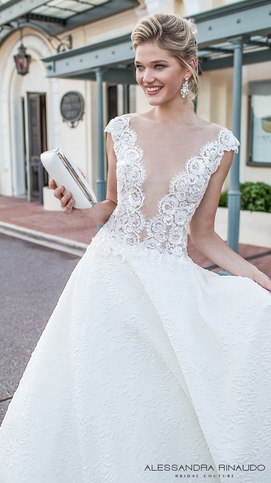 alessandra rinaudo 2017 bridal cap sleeves illusion bateau deep plunging neckline heavily embellished bodice romantic sexy a line wedding dress open low v back chapel train (betty) zv