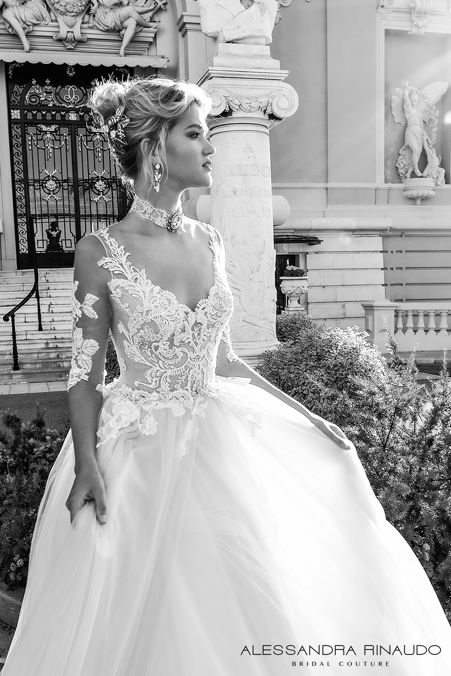 alessandra rinaudo 2017 bridal half sleeves scoop neckline heavily embellished bodice princess romantic a line wedding dress v back long royal train (benedetta) zv