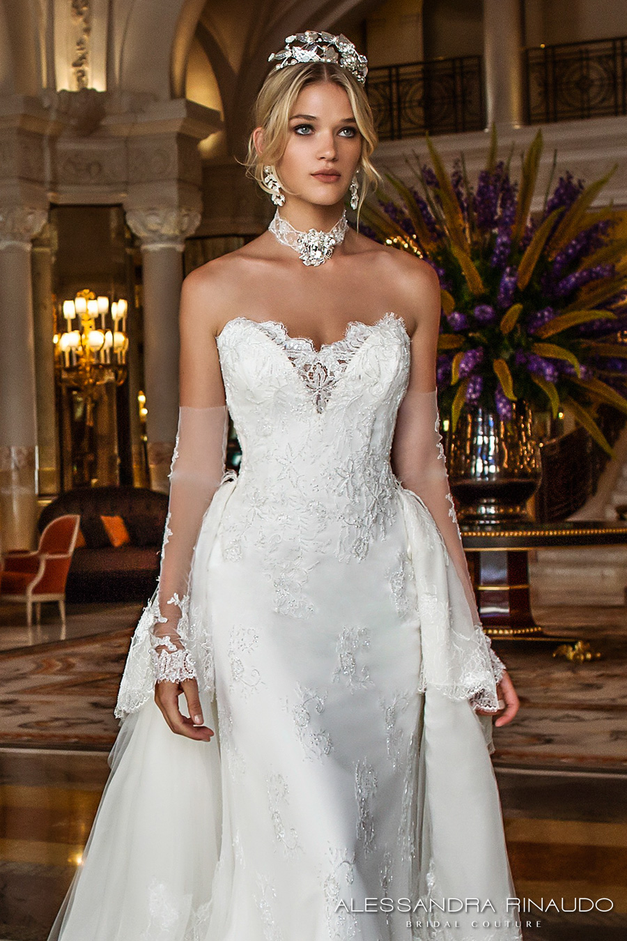 Alessandra Rinaudo 2017 Bridal Long Fingerless Lace Gloves Strapless Deep Sweetheart V Neck Heavily Embellished Bodice