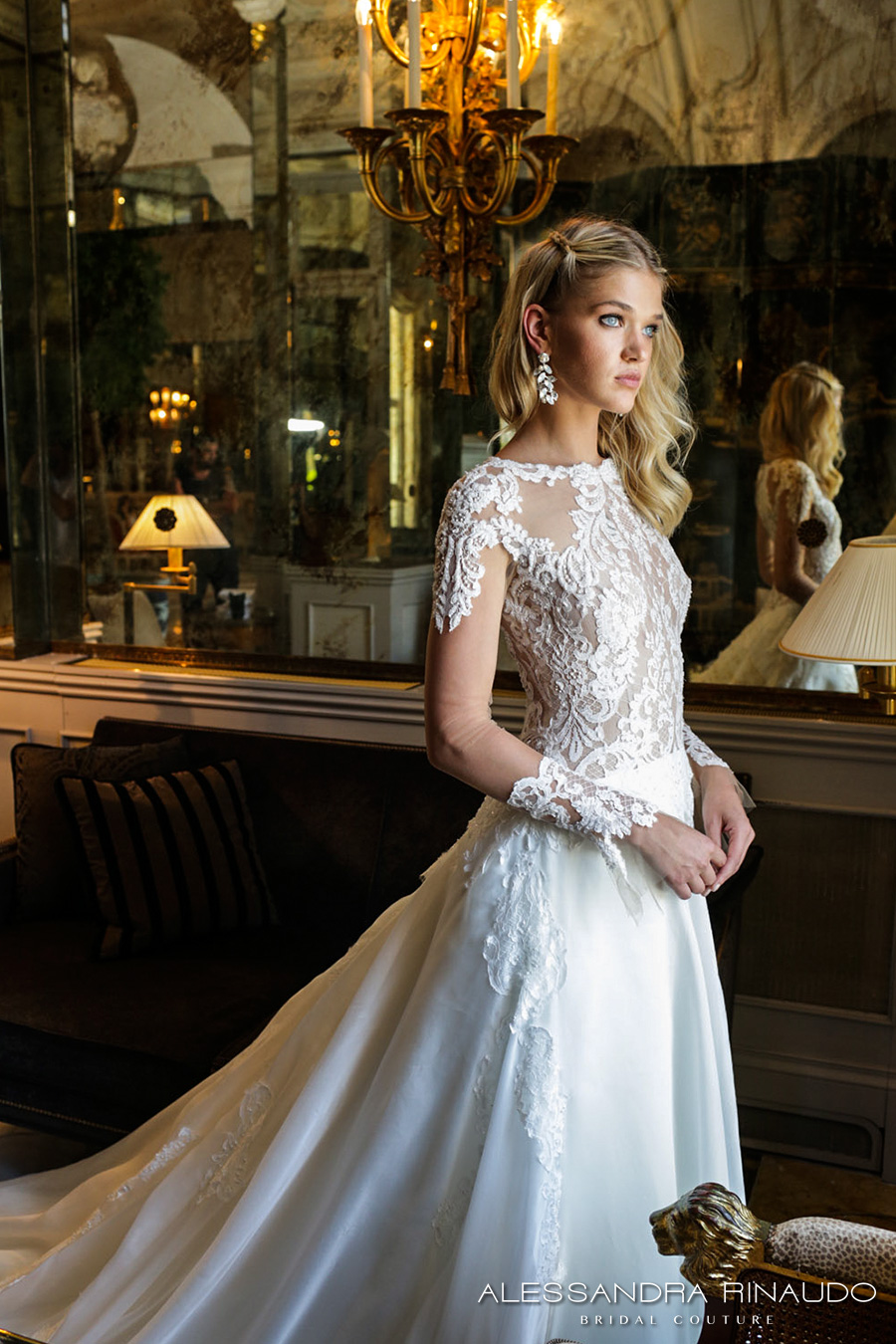 alessandra rinaudo 2017 bridal long sleeves round neck lace heavily embellished bodice drop waist elegant a  line wedding dress lace back long train (brunilde) zv