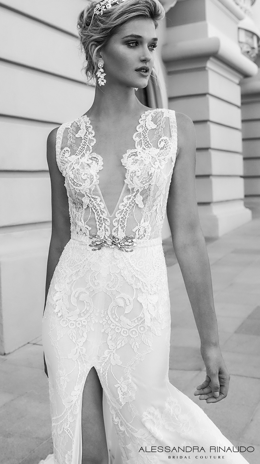alessandra rinaudo 2017 bridal sleeveless illusion boat deep plunging neck line heavily embellished bodice slit down the middle a  line wedding dress lace back chapel train (brianna) zv