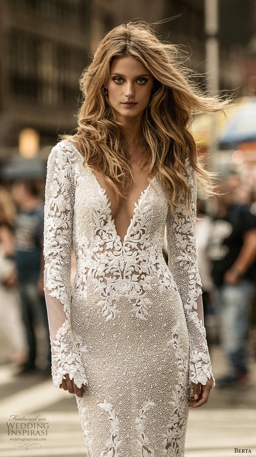 berta fall 2017 bridal long sleeves deep v neck full embellishment elegant lace sheath wedding dress low back chapel train (012a) zv