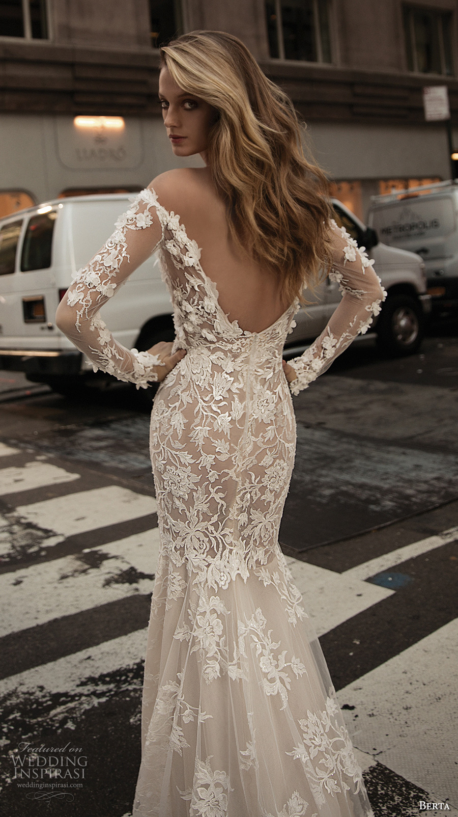 berta fall 2017 bridal long sleeves off the shoulder full embellishment elegant beautiful sheath wedding dress low back (001) zbv