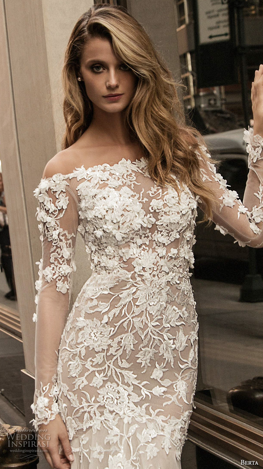 berta fall 2017 bridal long sleeves off the shoulder full embellishment elegant beautiful sheath wedding dress low back (001) zv