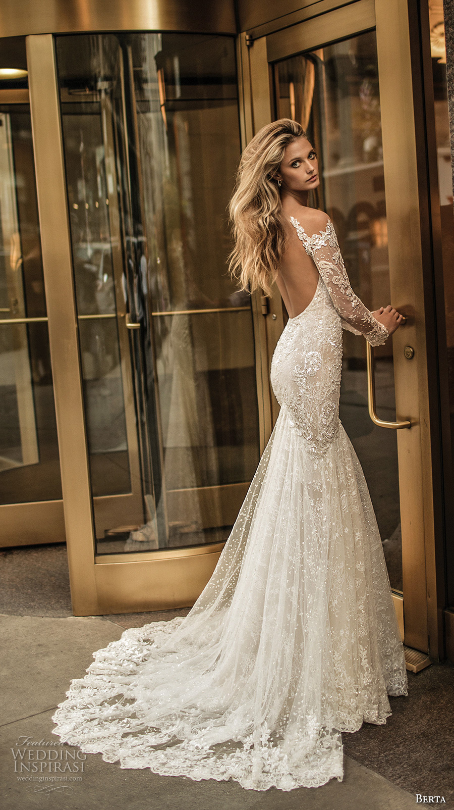 berta fall 2017 bridal long sleeves off the shoulder v neck full embellishment lace elegant romantic fit and flare wedding dress low back chapel train (012) bv
