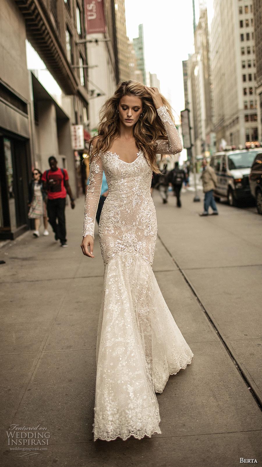 berta fall 2017 bridal long sleeves off the shoulder v neck full embellishment lace elegant romantic fit and flare wedding dress low back chapel train (012) mv