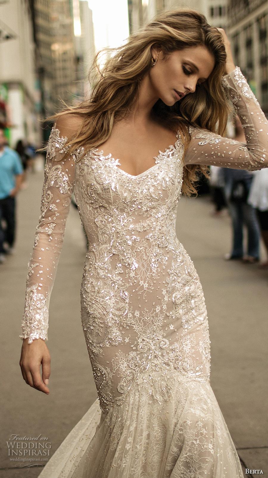 berta fall 2017 bridal long sleeves off the shoulder v neck full embellishment lace elegant romantic fit and flare wedding dress low back chapel train (012) zv