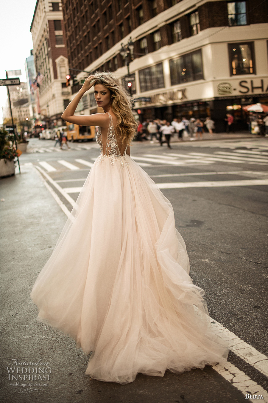berta fall 2017 bridal sleeveless deep v neckline heavily embellished bodice tulle blush color skirt romantic sexy a  line wedding dress low back chapel train (009)  bv