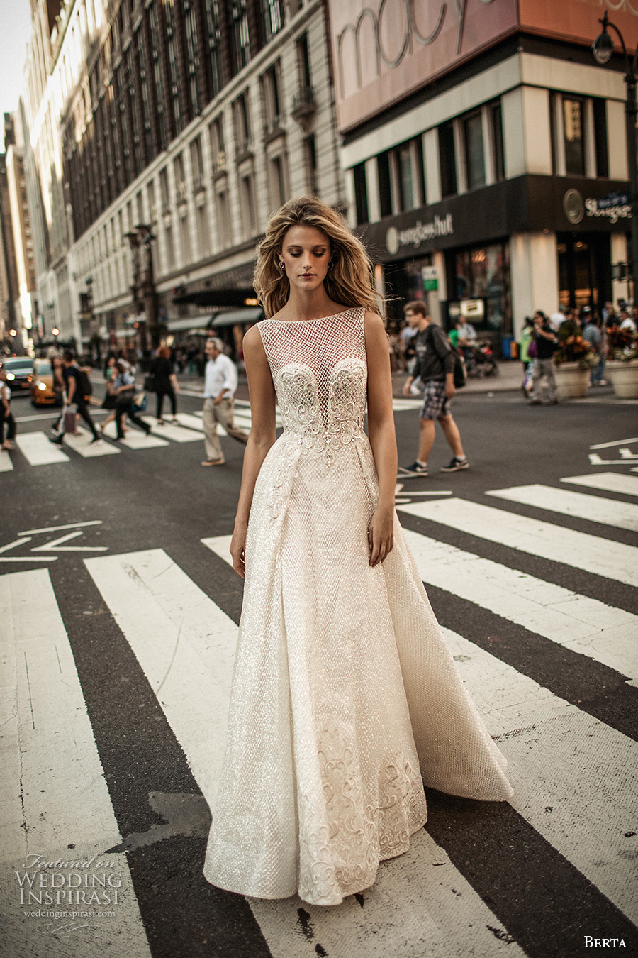 berta fall 2017 bridal sleeveless illusion bateau neckline deep plunging v neckline heavily embellished bodice romantic sexy a  line wedding dress low back chapel train (011) mv
