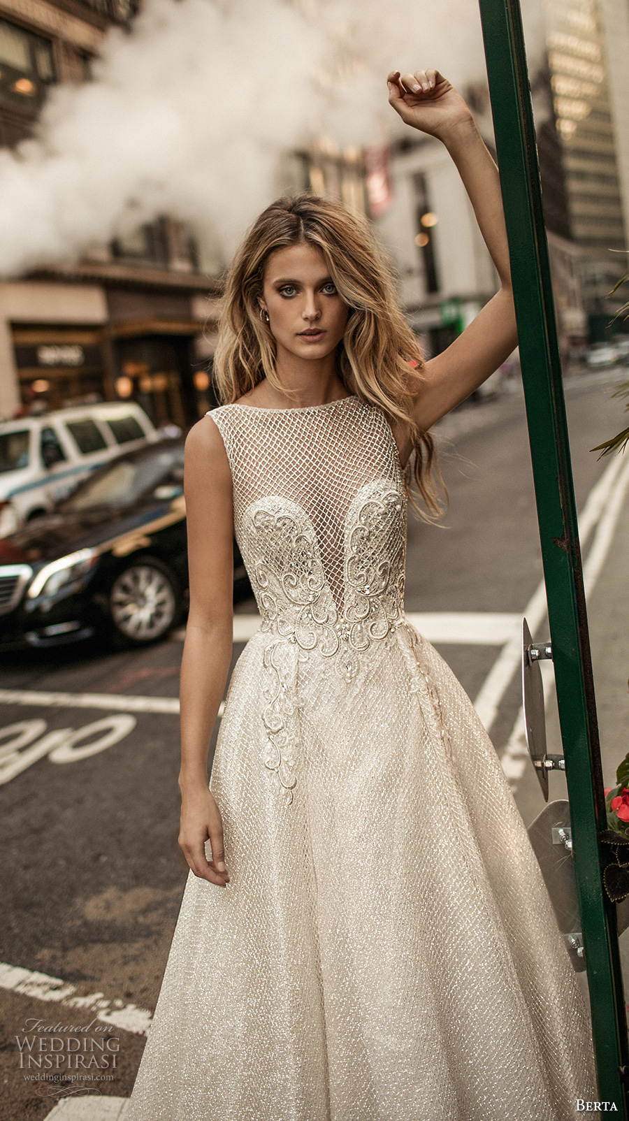 berta fall 2017 bridal sleeveless illusion bateau neckline deep plunging v neckline heavily embellished bodice romantic sexy a  line wedding dress low back chapel train (011) zv