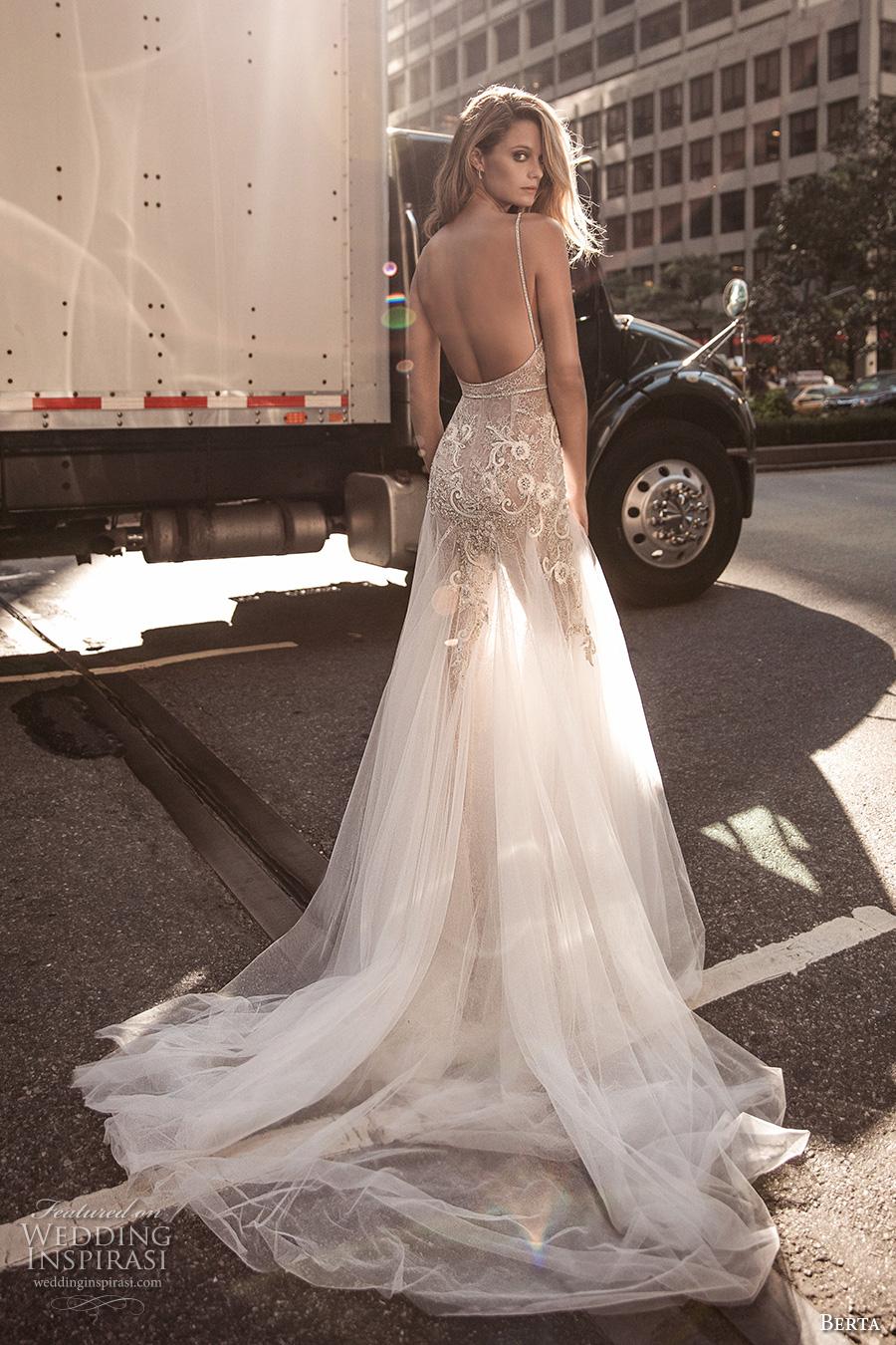 berta fall 2017 bridal sleeveless thing strap deep v neckline heavily embellished bodice sexy romantic tulle skirt a  line weding dress low back chapel train (002) bv
