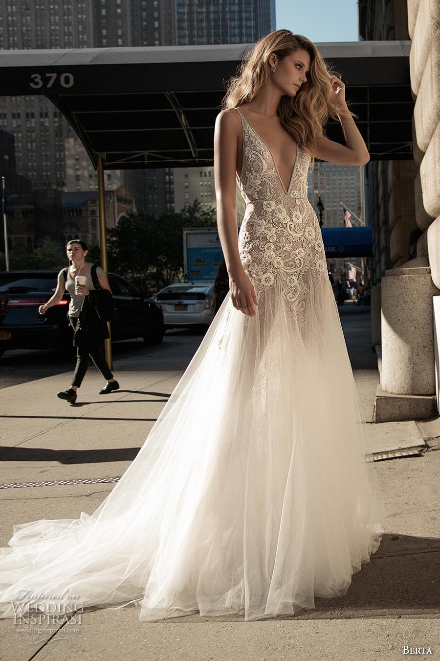 berta fall 2017 bridal sleeveless thing strap deep v neckline heavily embellished bodice sexy romantic tulle skirt a  line weding dress low back chapel train (002) mv