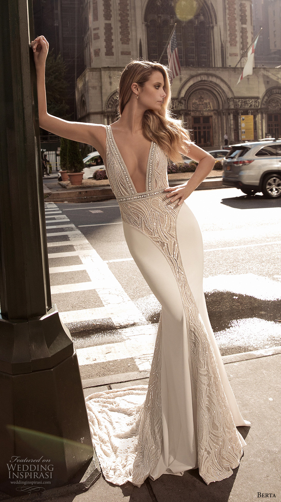 berta fall 2017 bridal sleeveless with strap deep plunging v neck heavily embellished bodice elegant sexy sheath wedding dress low back sweep train (003) mv