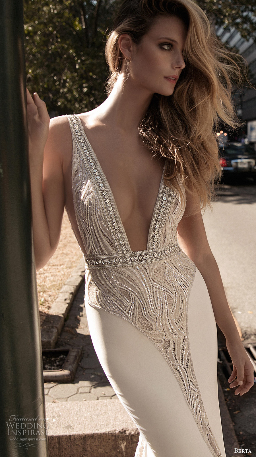 berta fall 2017 bridal sleeveless with strap deep plunging v neck heavily embellished bodice elegant sexy sheath wedding dress low back sweep train (003) zv