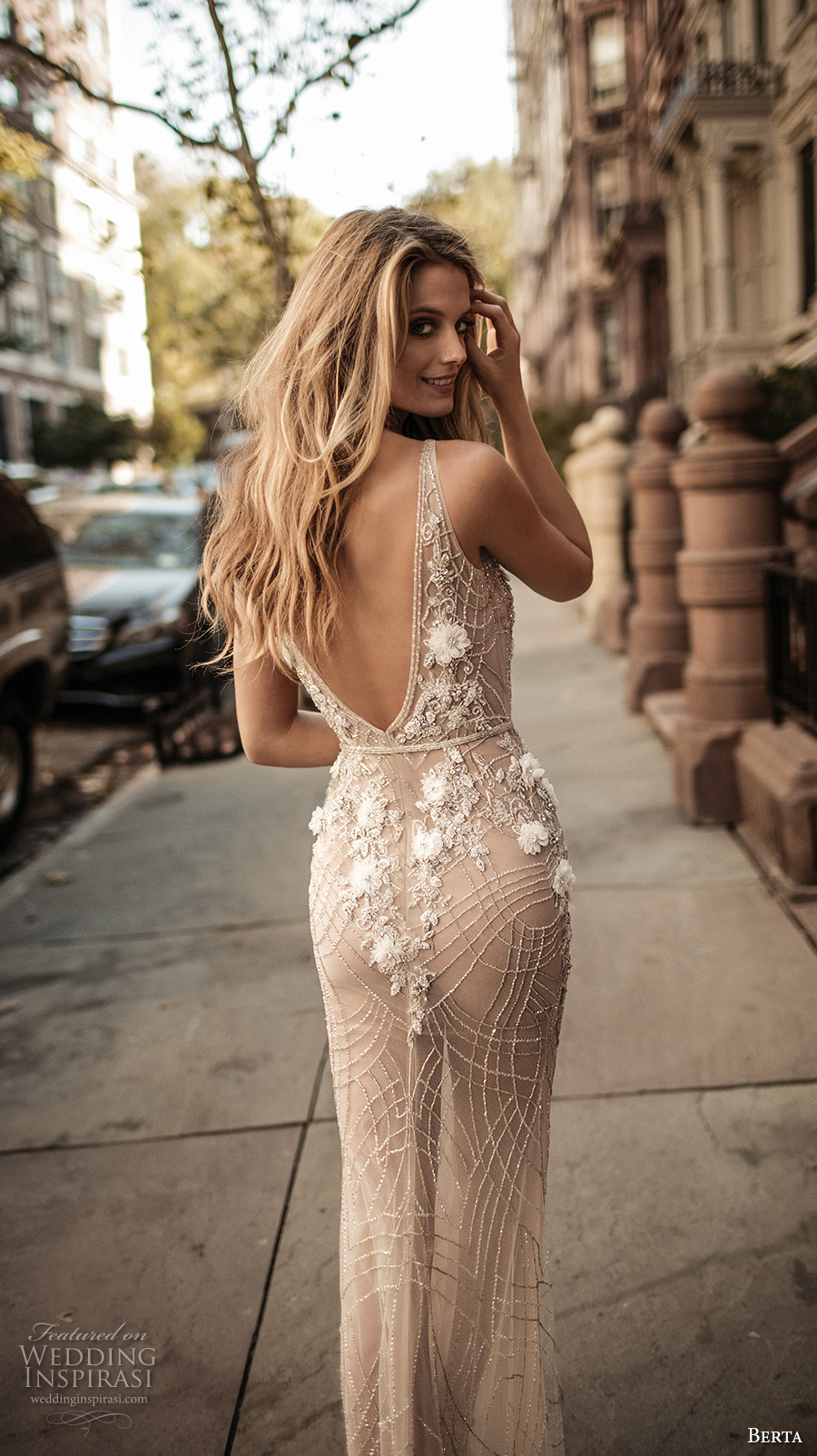 berta fall 2017 bridal sleeveless with strap deep v neckline full embellishment skin color elegant sexy sheath wedding dress low back sweep train (006) bv