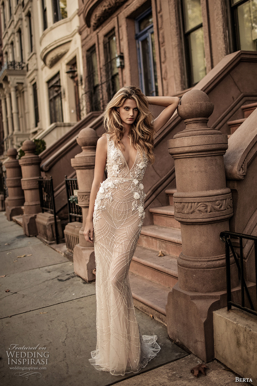 berta fall 2017 bridal sleeveless with strap deep v neckline full embellishment skin color elegant sexy sheath wedding dress low back sweep train (006) mv