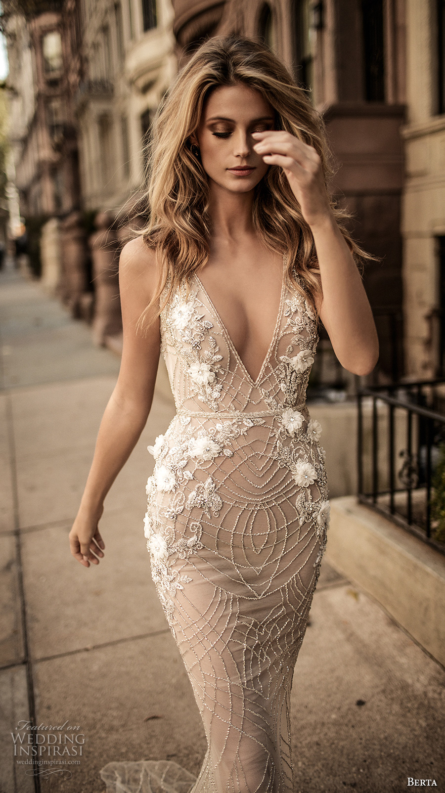 berta fall 2017 bridal sleeveless with strap deep v neckline full embellishment skin color elegant sexy sheath wedding dress low back sweep train (006) zv
