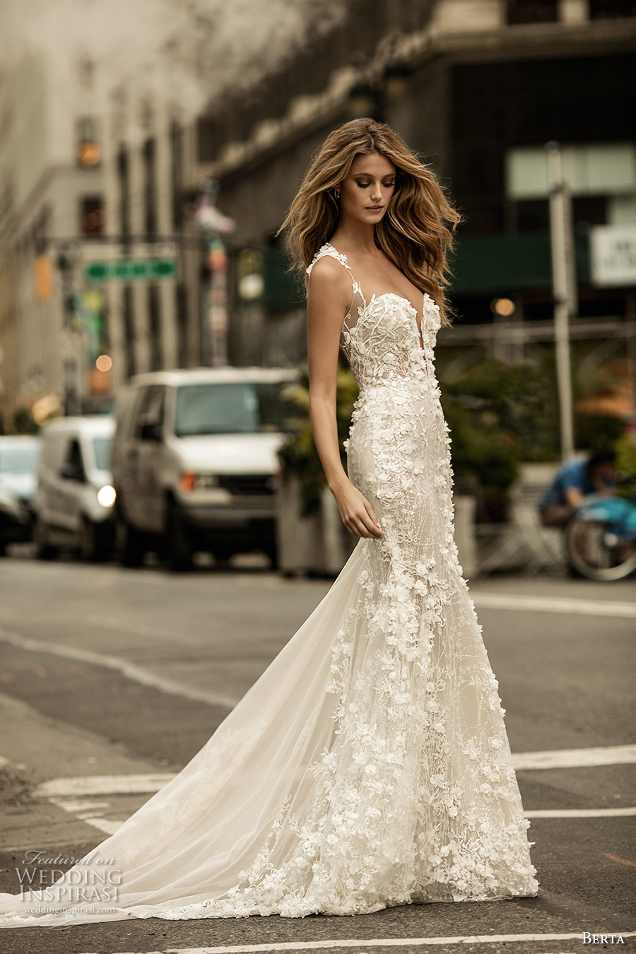 berta fall 2017 bridal sleeveless with strap plunging sweetheart neckline full embellishment romantic elegant sheath wedding dress chapel train (014) mv
