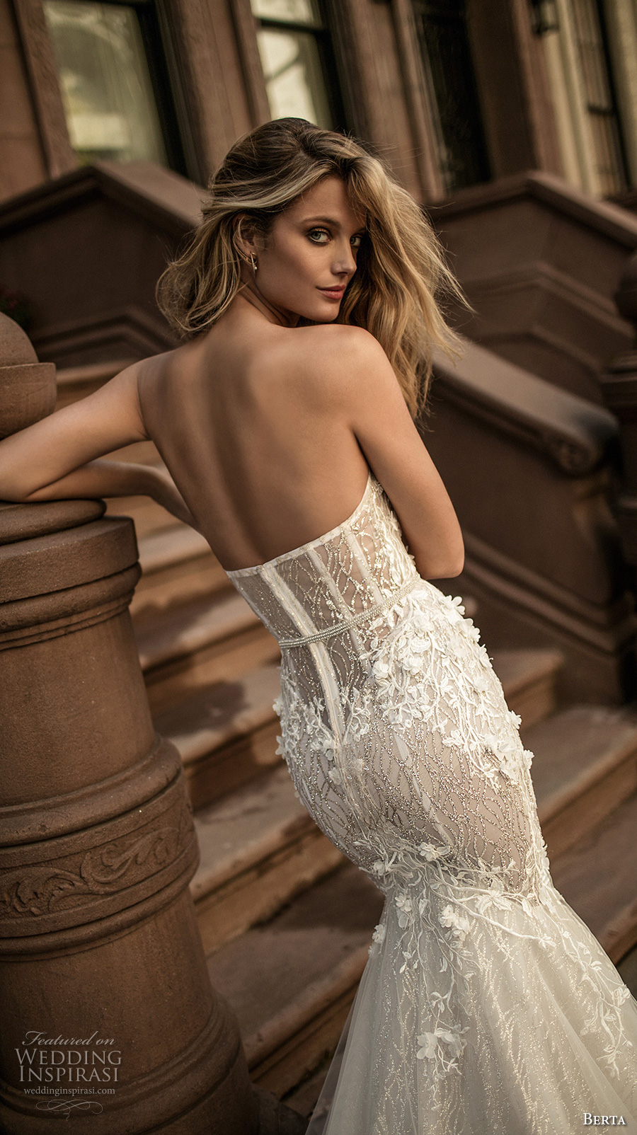 berta fall 2017 bridal strapless sweetheart neckline bustier heavily embellished bodice romantic sexy mermaid wedding dress long train (007) zbv